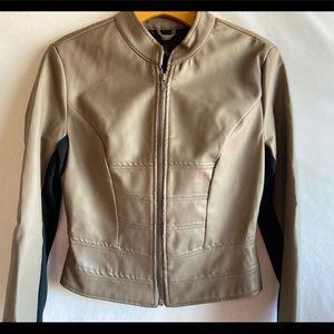 I.B. Diffusion Taupe Faux Leather Jacket Small